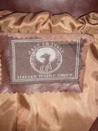 Jaqueta de Couro Italiana - Cor Marrom - Tamanho G