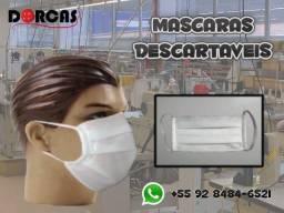 Máscaras descartáveis branca Pacotes COM 100 UNIDADES de TNT não tecido