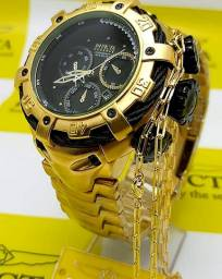 Relógio Invicta Banhado + Brindes