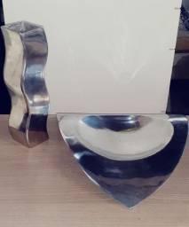 Conjunto de Vaso e Fruteira em Aluminio Polido