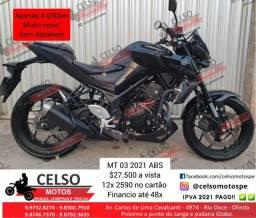 Título do anúncio: MT03 2021 4.000km Cartão 24x Financio 48x Aceito sua moto