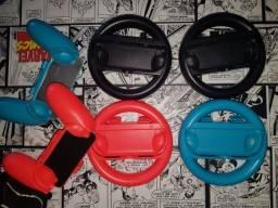 Kit Acessório 4 Volantes + 4 Suportes Controle Nintendo Switch