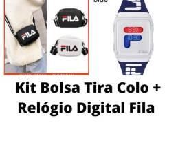 Kit Bolsa Tira Colo Mais Relógio Digital Fila