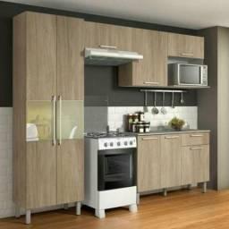 Cozinha Compacta 4 Peças com Balcão e Paneleiro Itatiaia Star Aveiro Oak
