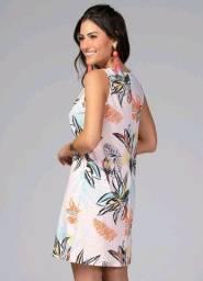 Vestido Verão Curto Floral Rosê sem Mangas
