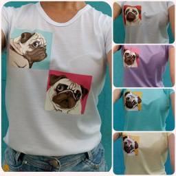 Camisa Baby Look com estampas variadas