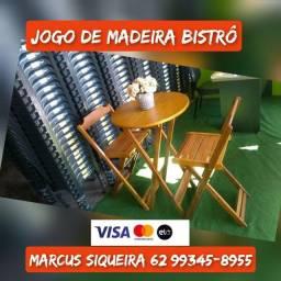 Jogo/Conjunto Mesa e Cadeira de Madeira