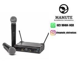 Microfone Sem Fio Duplo Uhf Lelong Le-906 110/220 Vts