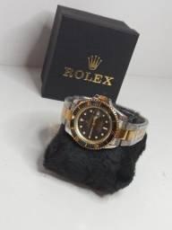 Relógio Rolex 1 Linha com Data Fucional Aço inox