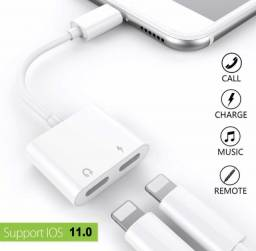Duplo Jack Adaptador Fone Musica Carregador iPhone 7, 8, X