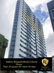 Alugo Apartamento nas Graças, 78m², 03 quartos (01 suíte)