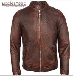 Casaco jaqueta de couro genuino Unissex 100% de couro de bezerro