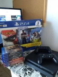 PS4 Slim 500GB 2 Controles 9 Jogos