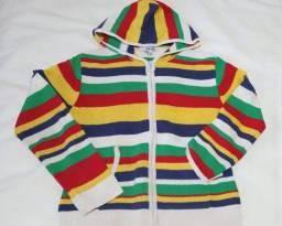 Casaco Lã Colorido Com Ziper Capuz Feminino Tam M