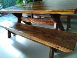 Mesa com bancos 2.00 mts pinus