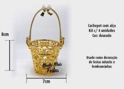 Porta Jóia Cachepot Trabalho com Alça Dourado - 4 unidades