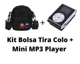 Kit Bolsa Tiracolo de Tecido Oxford da Vila Sésamo + Mini MP3 Player