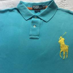 Camisa Ralph Lauren Gola Polo Custom Fit Azul XXL Usada 57ca0a601c4