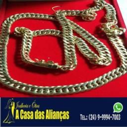 Cordão Elos duplos Ouro 18 k / 7 mm / 40 gramas / 65 Cm