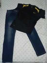 Título do anúncio: duas calças e duas camisas novas