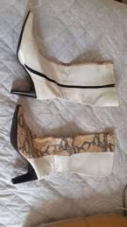 Bota branca couro legítimo