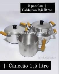 kit Panela Com leiteira  e Caldeirão Com Tampas Grossas em alumínio Batido.