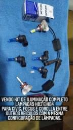 Kit de iluminação Completo HB3 E HB4 pra Civic Corolla Focus entre outros veículos.