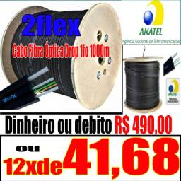 Cabo 1 fibra optica DROP 2F-F1FO 2fex homologada anatel 1000metro