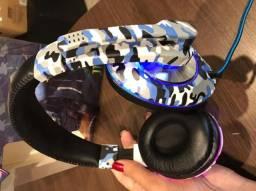 Headset fones games de ouvido com led e microfone