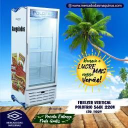 Freezer congelamento vertical 560L Polofrio porta de vidro Novo Frete Grátis