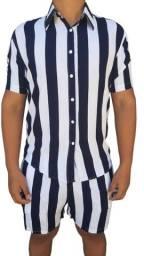 Camisa +Shorts Masculino Listrado, Novo !!!! Entrega Grátis !!!!!