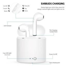 Compartilhar: Favoritar (3) Fone De Ouvido Bluetooth I7S 5.0 Par Tws Sem Fio Branco