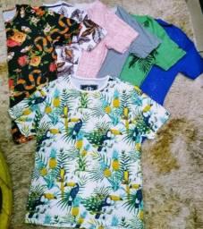 Kit 10 Camisetas LongLine Cores e Estampas Variadas