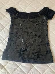 Blusa em lantejoulas preta, com strass, tamanho M