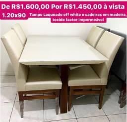 Mesa nova 4 lugares cadeiras em madeira