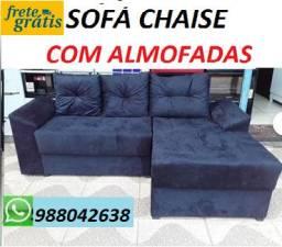 Faça Seu Pedido e Receba No Mesmo Dia!!Sofa Chaise Com Almofadas Novo Apenas 649,00
