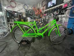 Bicicleta Poti Verde Neon Freios Aluminio