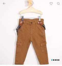 Calça jeans com suspensorio infantil