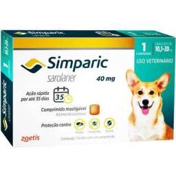 Antipulgas Zoetis Simparic 40 mg para Cães 10,1 a 20 Kg 1 comprimido