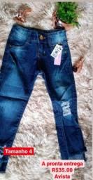 Calça jeans infantil a pronta entrega