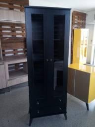 Cristaleira retro preta com duas gavetas