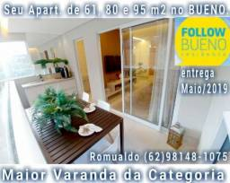 Follow bueno residence- apartamentos 60, 80, 95 mts, com varanda, 900m do goiania shopping