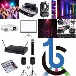 Karaokê / Som para festas / Jogo de luz / Iluminação e Datashow