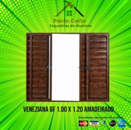 Veneziana 6fls 1x120 alum Amadeirado