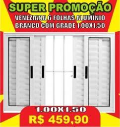 Super Promoção - Veneziana 6 folhas de aluminio branco com grade 1.00x1.50