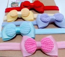 Kit 5 Faixinhas/Tiaras/Meia de Seda Laços Lacinhos Gravatinha com Crochê - Bebê Menina