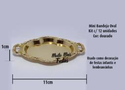 Porta Jóia Mini Bandeja Oval Dourado - 12 unidades