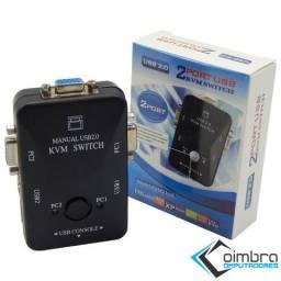 Switch KVM 2 Portas - Adaptador 2 PCs em 1 Monitor - USB 2.0 - Loja Coimbra Computadores