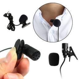 Microfone Lapela Lavalier P2 3,5mm p/ Notebook PC Câmera