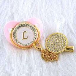 Chupeta Baby Luxo Rosa